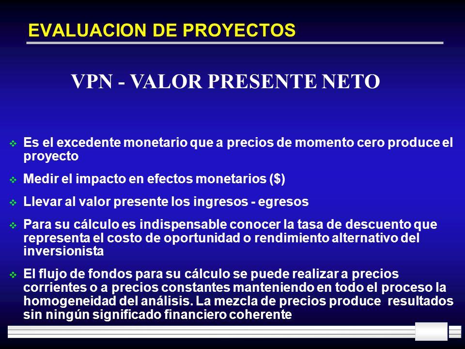 EVALUACION DE PROYECTOS Es el excedente monetario que a precios de momento cero produce el proyecto Medir el impacto en efectos monetarios ($) Llevar