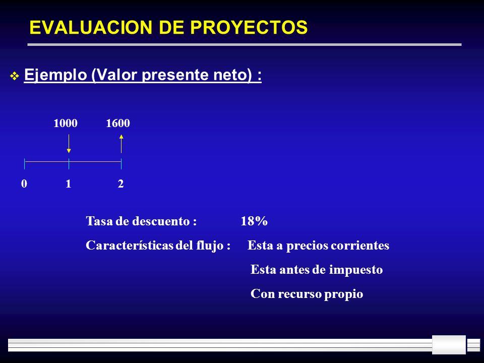 EVALUACION DE PROYECTOS Ejemplo (Valor presente neto) : 10001600 012 Tasa de descuento : 18% Características del flujo : Esta a precios corrientes Est