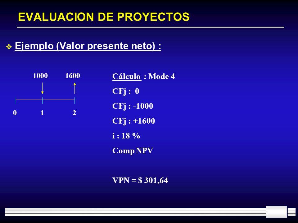 EVALUACION DE PROYECTOS Ejemplo (Valor presente neto) : 10001600 012 Cálculo : Mode 4 CFj : 0 CFj : -1000 CFj : +1600 i : 18 % Comp NPV VPN = $ 301,64