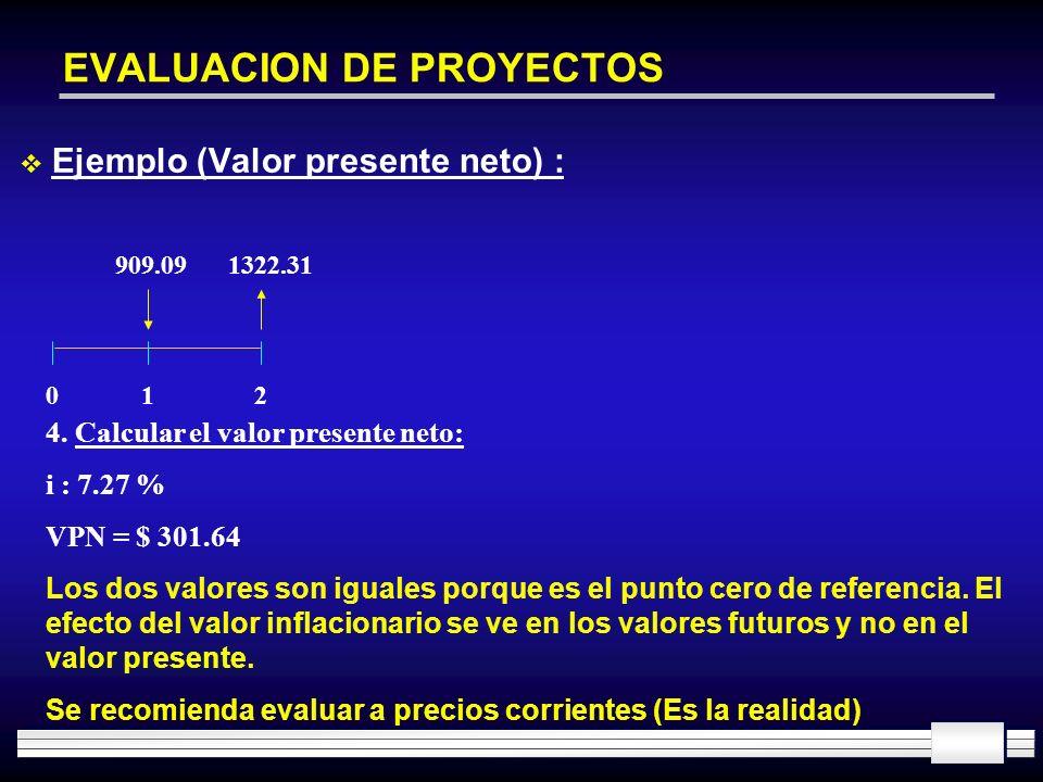 EVALUACION DE PROYECTOS Ejemplo (Valor presente neto) : 909.091322.31 012 4. Calcular el valor presente neto: i : 7.27 % VPN = $ 301.64 Los dos valore
