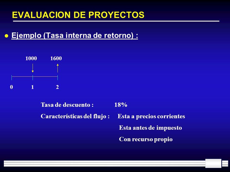 EVALUACION DE PROYECTOS l Ejemplo (Tasa interna de retorno) : 10001600 012 Tasa de descuento : 18% Características del flujo : Esta a precios corrient