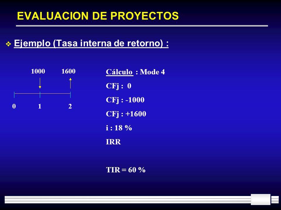 EVALUACION DE PROYECTOS Ejemplo (Tasa interna de retorno) : 10001600 012 Cálculo : Mode 4 CFj : 0 CFj : -1000 CFj : +1600 i : 18 % IRR TIR = 60 %