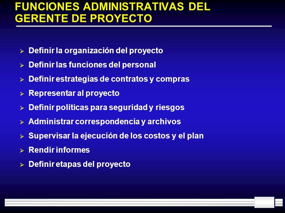 FUNCIONES ADMINISTRATIVAS DEL GERENTE DE PROYECTO Definir la organización del proyecto Definir las funciones del personal Definir estrategias de contr