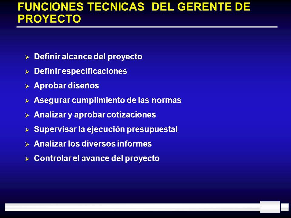 FUNCIONES TECNICAS DEL GERENTE DE PROYECTO Definir alcance del proyecto Definir especificaciones Aprobar diseños Asegurar cumplimiento de las normas A