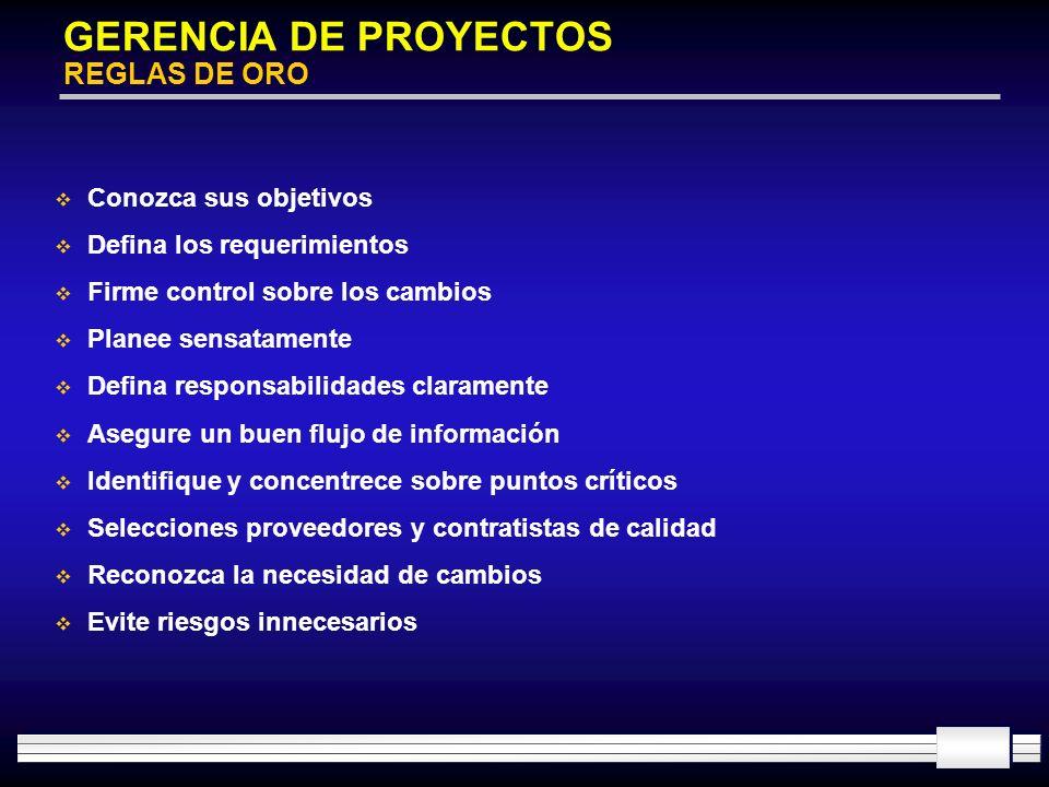 GERENCIA DE PROYECTOS REGLAS DE ORO Conozca sus objetivos Defina los requerimientos Firme control sobre los cambios Planee sensatamente Defina respons
