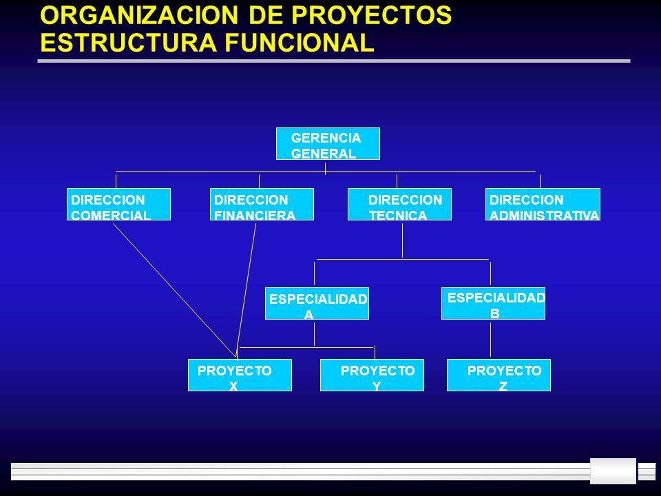 ORGANIZACION DE PROYECTOS ESTRUCTURA FUNCIONAL GERENCIA GENERAL DIRECCION COMERCIAL DIRECCION FINANCIERA DIRECCION TECNICA DIRECCION ADMINISTRATIVA ES