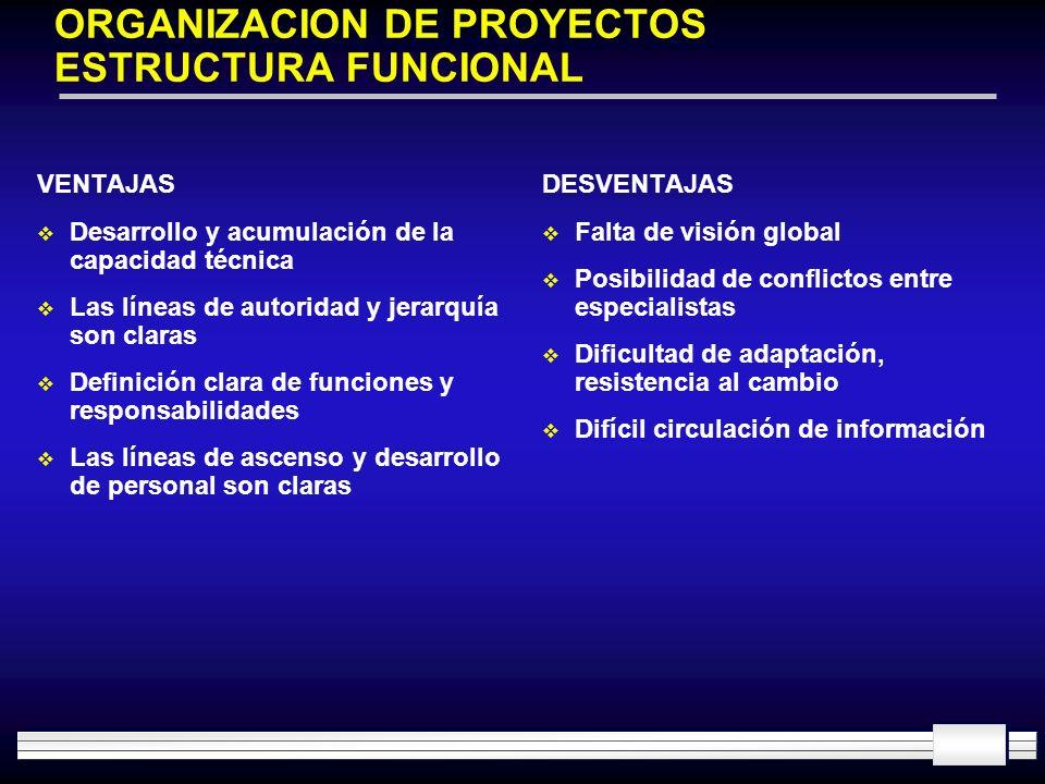 ORGANIZACION DE PROYECTOS ESTRUCTURA FUNCIONAL VENTAJAS Desarrollo y acumulación de la capacidad técnica Las líneas de autoridad y jerarquía son clara