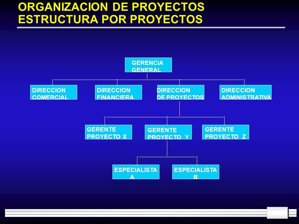 ORGANIZACION DE PROYECTOS ESTRUCTURA POR PROYECTOS GERENCIA GENERAL DIRECCION COMERCIAL DIRECCION FINANCIERA DIRECCION DE PROYECTOS DIRECCION ADMINIST