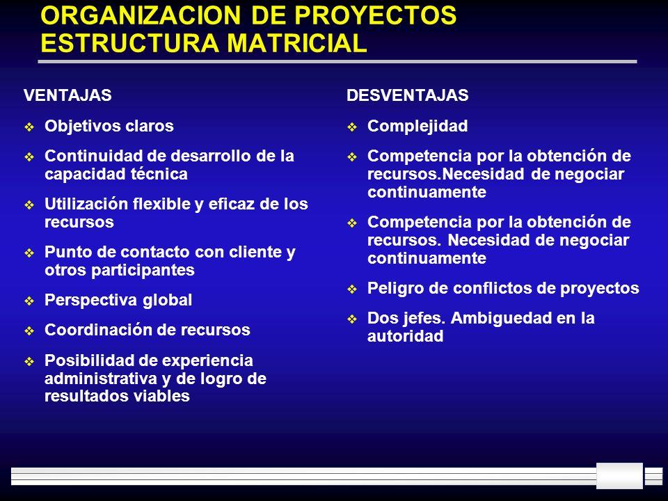 ORGANIZACION DE PROYECTOS ESTRUCTURA MATRICIAL VENTAJAS Objetivos claros Continuidad de desarrollo de la capacidad técnica Utilización flexible y efic