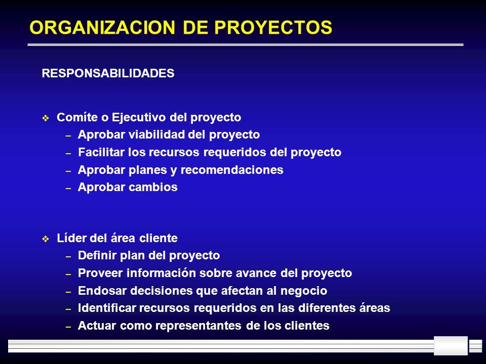 ORGANIZACION DE PROYECTOS RESPONSABILIDADES Comíte o Ejecutivo del proyecto – Aprobar viabilidad del proyecto – Facilitar los recursos requeridos del