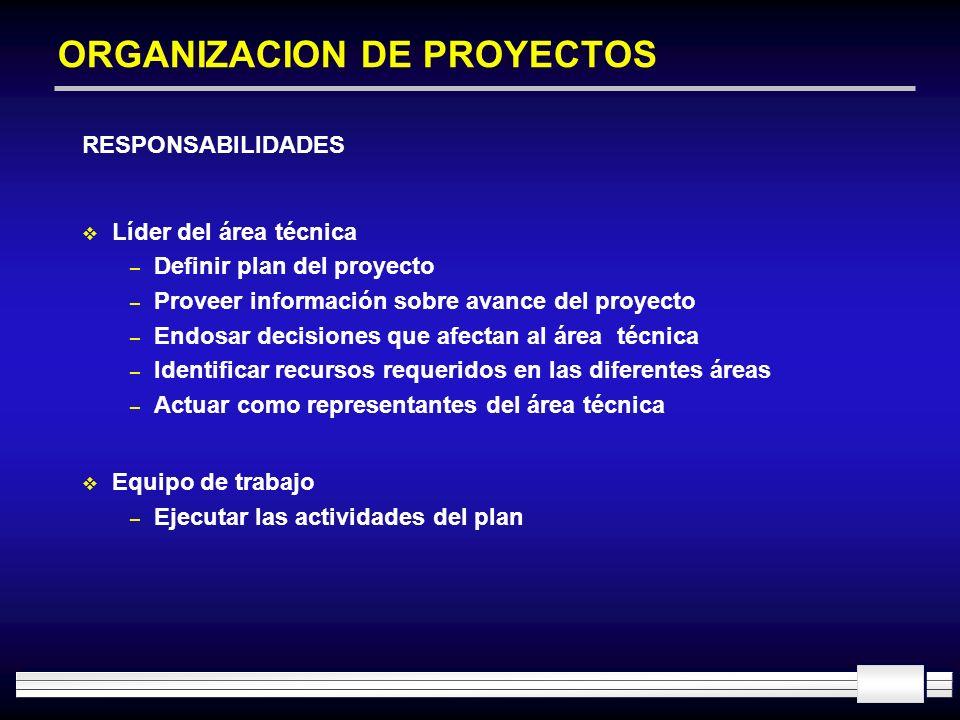 ORGANIZACION DE PROYECTOS RESPONSABILIDADES Líder del área técnica – Definir plan del proyecto – Proveer información sobre avance del proyecto – Endos