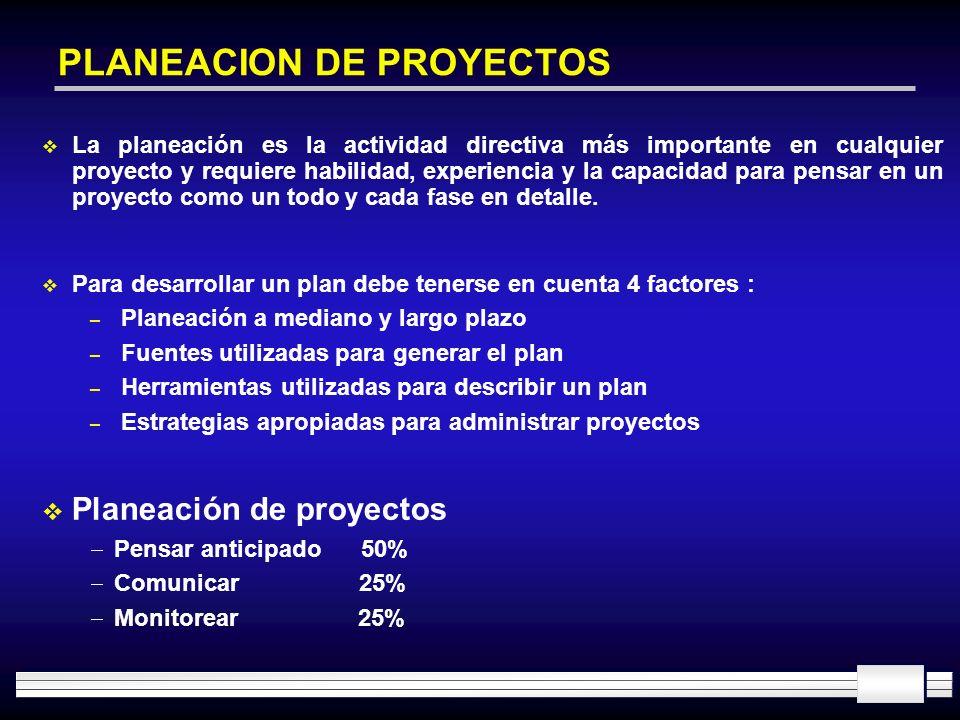 PLANEACION DE PROYECTOS La planeación es la actividad directiva más importante en cualquier proyecto y requiere habilidad, experiencia y la capacidad