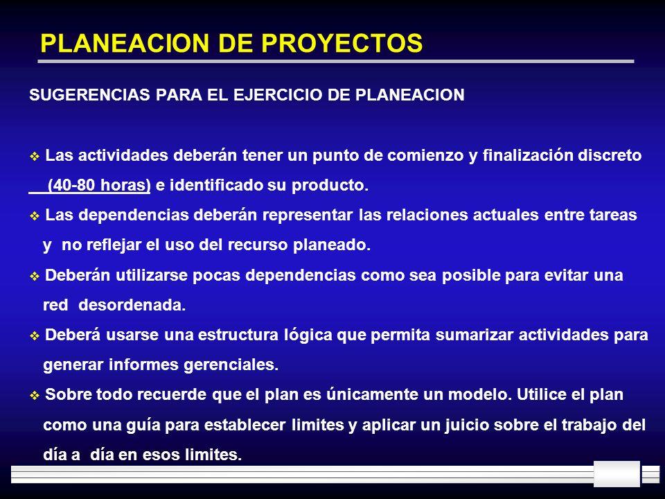 PLANEACION DE PROYECTOS SUGERENCIAS PARA EL EJERCICIO DE PLANEACION Las actividades deberán tener un punto de comienzo y finalización discreto (40-80