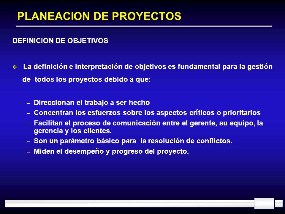 PLANEACION DE PROYECTOS DEFINICION DE OBJETIVOS La definición e interpretación de objetivos es fundamental para la gestión de todos los proyectos debi