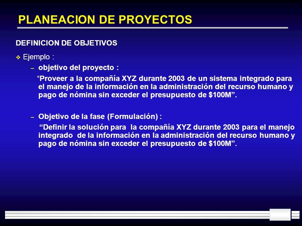 PLANEACION DE PROYECTOS DEFINICION DE OBJETIVOS Ejemplo : – objetivo del proyecto : Proveer a la compañía XYZ durante 2003 de un sistema integrado par