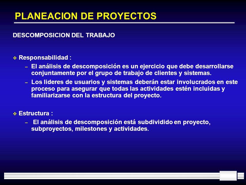 PLANEACION DE PROYECTOS DESCOMPOSICION DEL TRABAJO Responsabilidad : – El análisis de descomposición es un ejercicio que debe desarrollarse conjuntame