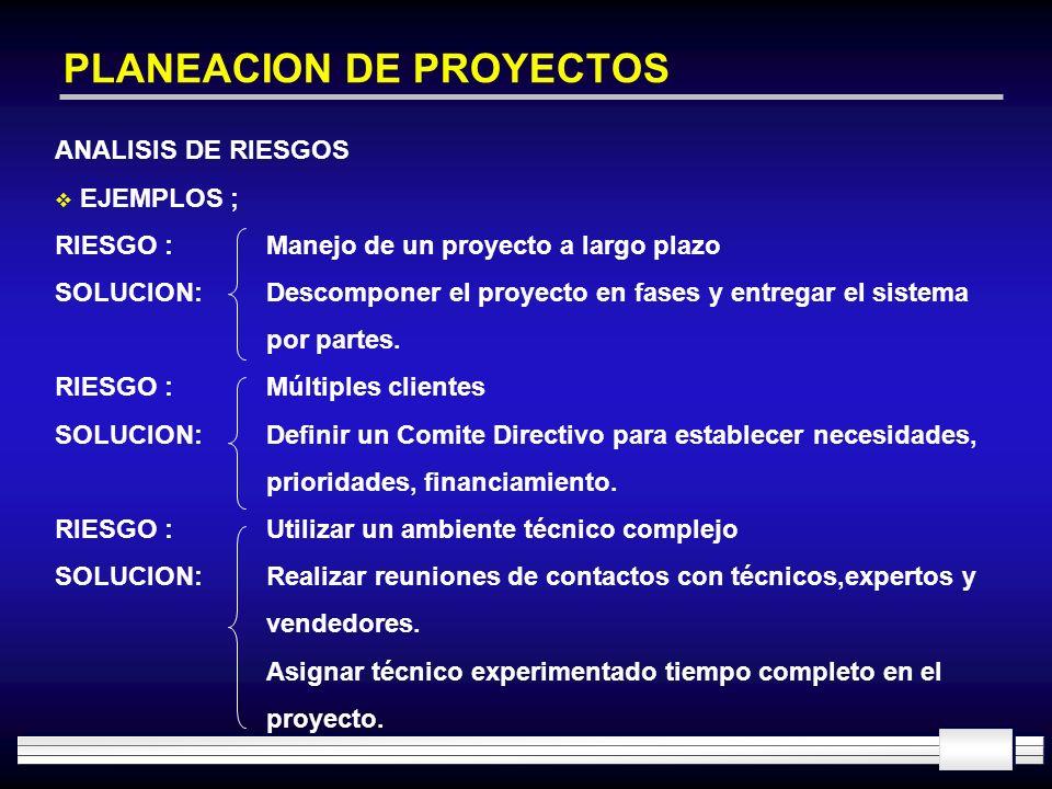 PLANEACION DE PROYECTOS ANALISIS DE RIESGOS EJEMPLOS ; RIESGO :Manejo de un proyecto a largo plazo SOLUCION:Descomponer el proyecto en fases y entrega