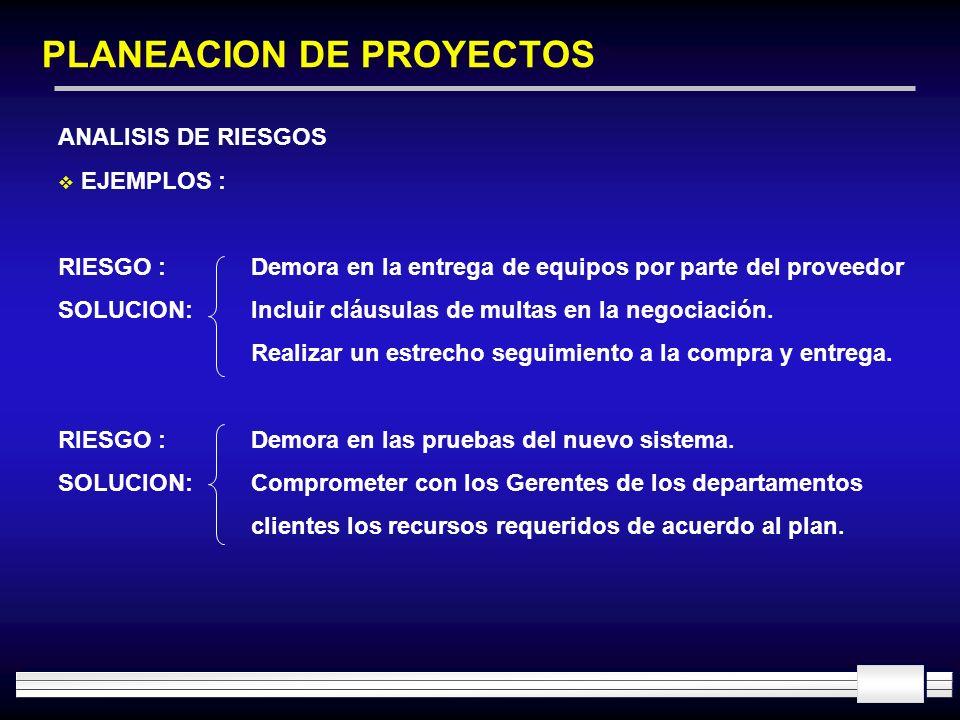 PLANEACION DE PROYECTOS ANALISIS DE RIESGOS EJEMPLOS : RIESGO :Demora en la entrega de equipos por parte del proveedor SOLUCION:Incluir cláusulas de m