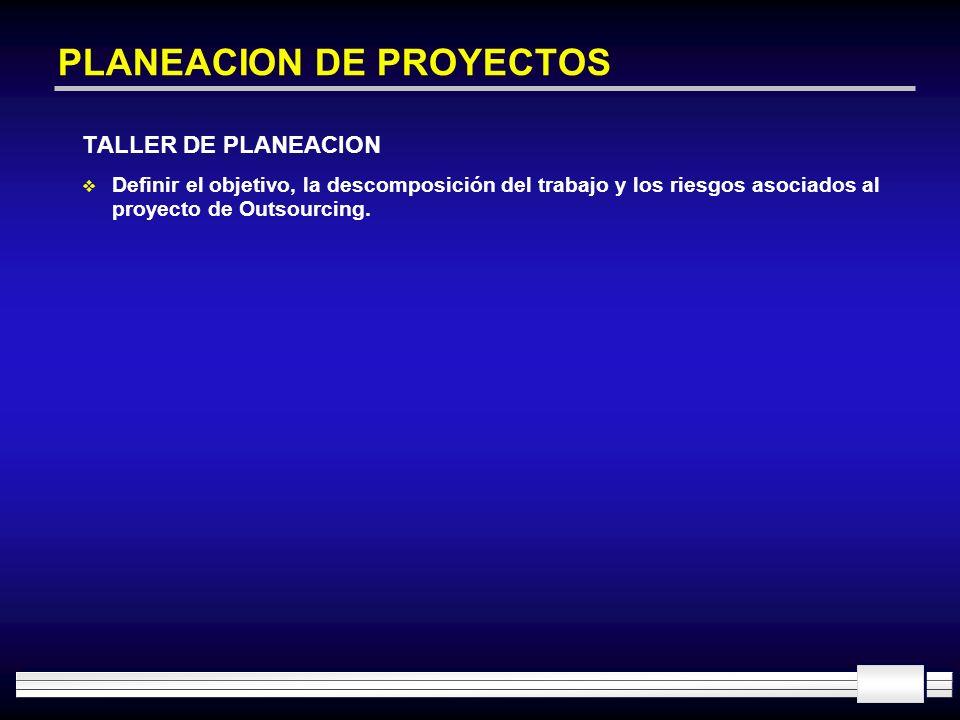 PLANEACION DE PROYECTOS TALLER DE PLANEACION Definir el objetivo, la descomposición del trabajo y los riesgos asociados al proyecto de Outsourcing.