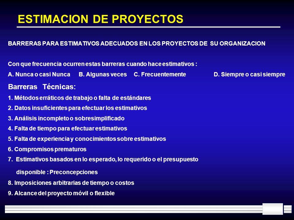 ESTIMACION DE PROYECTOS BARRERAS PARA ESTIMATIVOS ADECUADOS EN LOS PROYECTOS DE SU ORGANIZACION Con que frecuencia ocurren estas barreras cuando hace