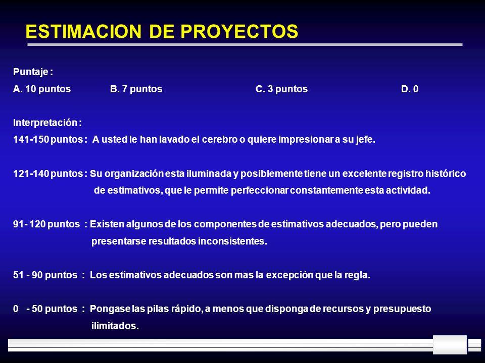 ESTIMACION DE PROYECTOS Puntaje : A. 10 puntosB. 7 puntosC. 3 puntosD. 0 Interpretación : 141-150 puntos : A usted le han lavado el cerebro o quiere i