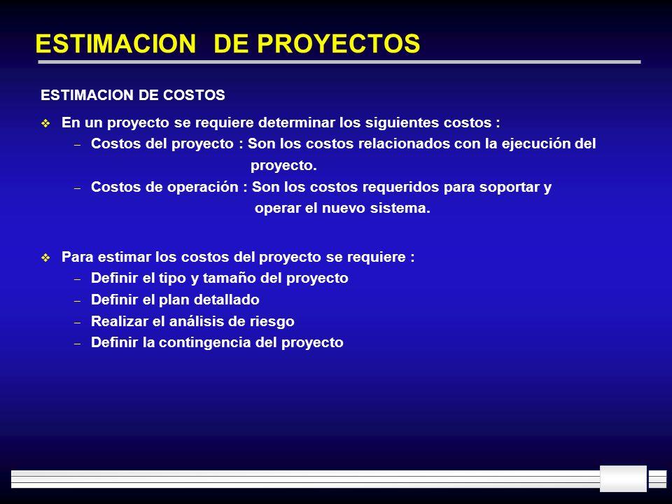 ESTIMACION DE PROYECTOS ESTIMACION DE COSTOS En un proyecto se requiere determinar los siguientes costos : – Costos del proyecto : Son los costos rela