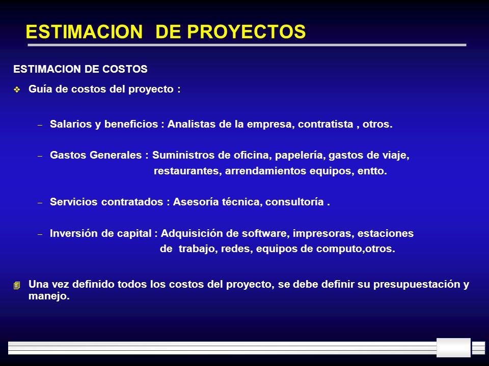 ESTIMACION DE PROYECTOS ESTIMACION DE COSTOS Guía de costos del proyecto : – Salarios y beneficios : Analistas de la empresa, contratista, otros. – Ga