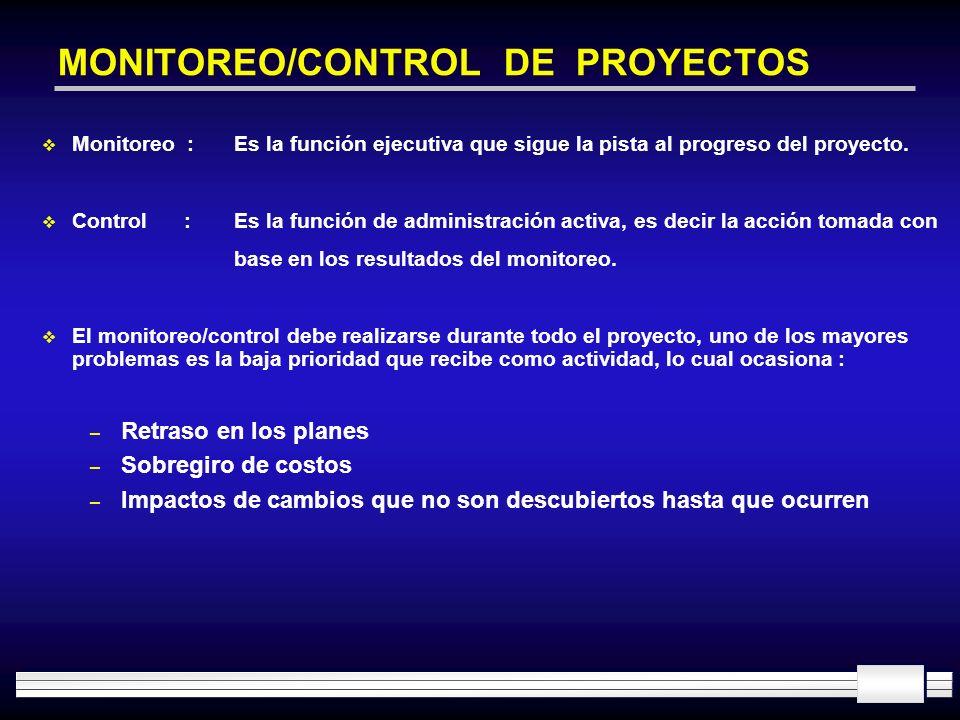 MONITOREO/CONTROL DE PROYECTOS Monitoreo :Es la función ejecutiva que sigue la pista al progreso del proyecto. Control : Es la función de administraci
