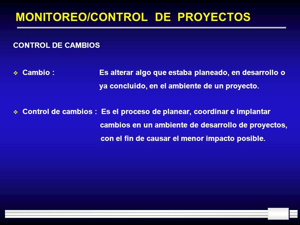 MONITOREO/CONTROL DE PROYECTOS CONTROL DE CAMBIOS Cambio : Es alterar algo que estaba planeado, en desarrollo o ya concluido, en el ambiente de un pro