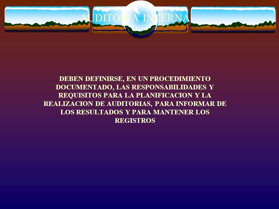 AUDITORIA INTERNA DEBEN DEFINIRSE, EN UN PROCEDIMIENTO DOCUMENTADO, LAS RESPONSABILIDADES Y REQUISITOS PARA LA PLANIFICACION Y LA REALIZACION DE AUDIT
