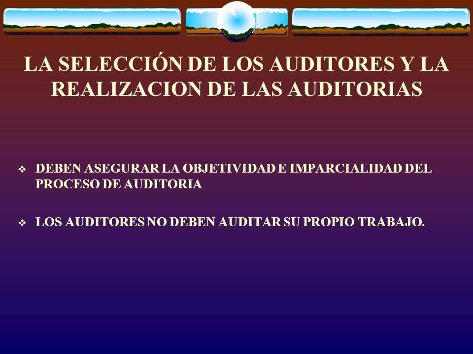 LA SELECCIÓN DE LOS AUDITORES Y LA REALIZACION DE LAS AUDITORIAS DEBEN ASEGURAR LA OBJETIVIDAD E IMPARCIALIDAD DEL PROCESO DE AUDITORIA LOS AUDITORES