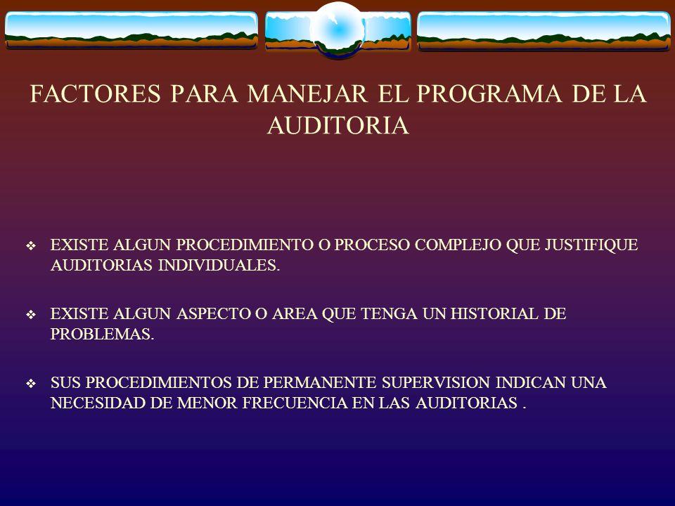 FACTORES PARA MANEJAR EL PROGRAMA DE LA AUDITORIA EXISTE ALGUN PROCEDIMIENTO O PROCESO COMPLEJO QUE JUSTIFIQUE AUDITORIAS INDIVIDUALES. EXISTE ALGUN A