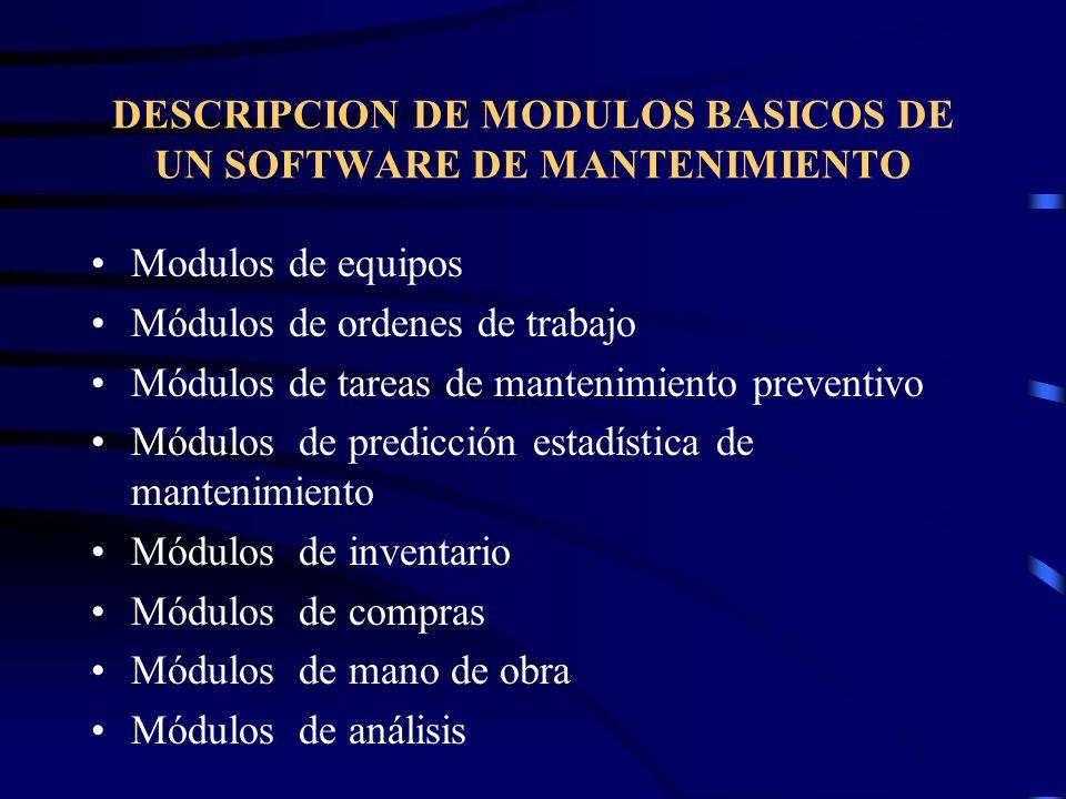 MODULO DE EQUIPOS Mantiene antecedentes completos de cada unidad de equipos, incluyendo datos técnicos, estadísticos, información sobre repuestos y registros continuos de todas las tareas de mantenimiento.