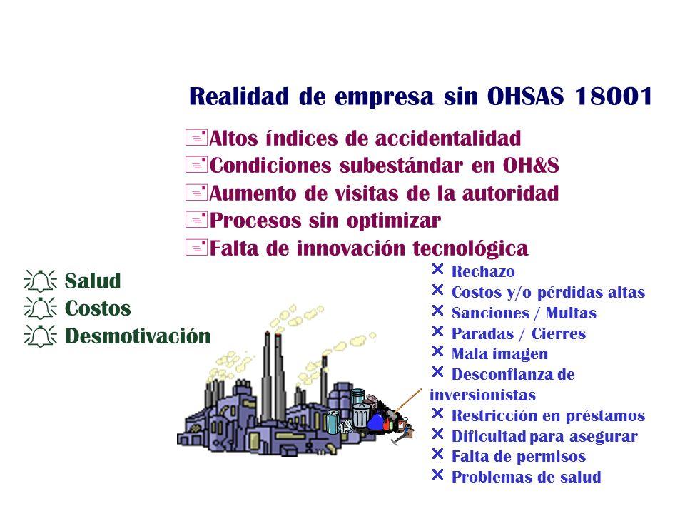 +Altos índices de accidentalidad +Condiciones subestándar en OH&S +Aumento de visitas de la autoridad +Procesos sin optimizar +Falta de innovación tec
