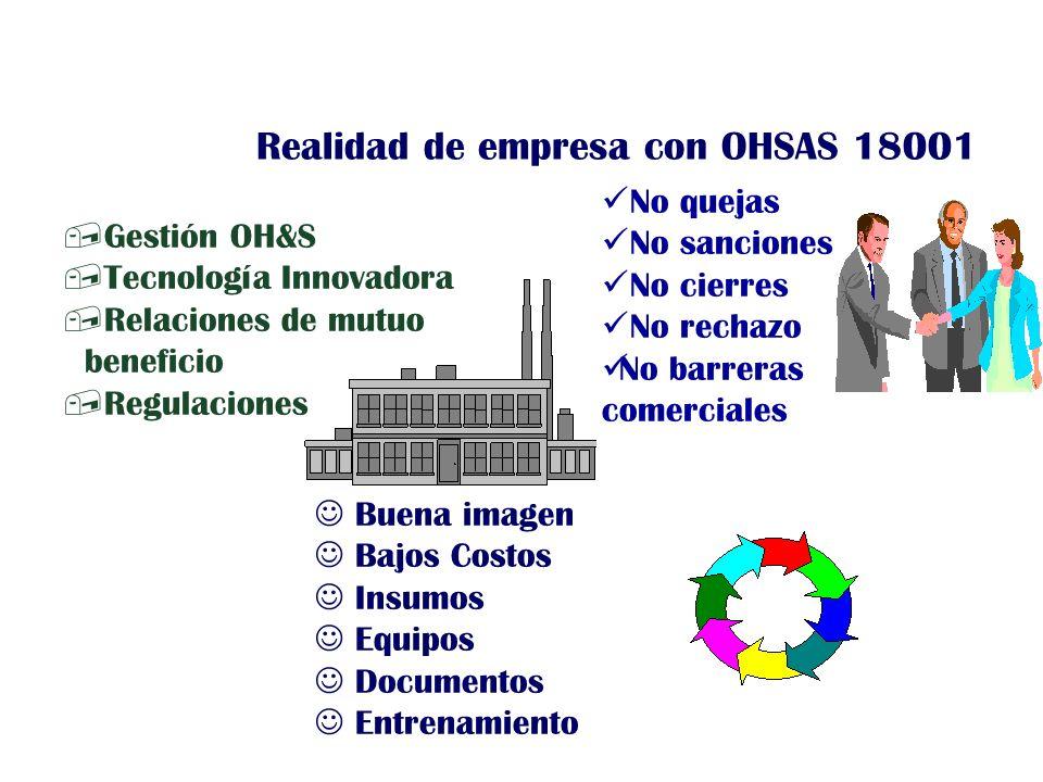 ,Gestión OH&S,Tecnología Innovadora,Relaciones de mutuo beneficio,Regulaciones Buena imagen Bajos Costos Insumos Equipos Documentos Entrenamiento No q