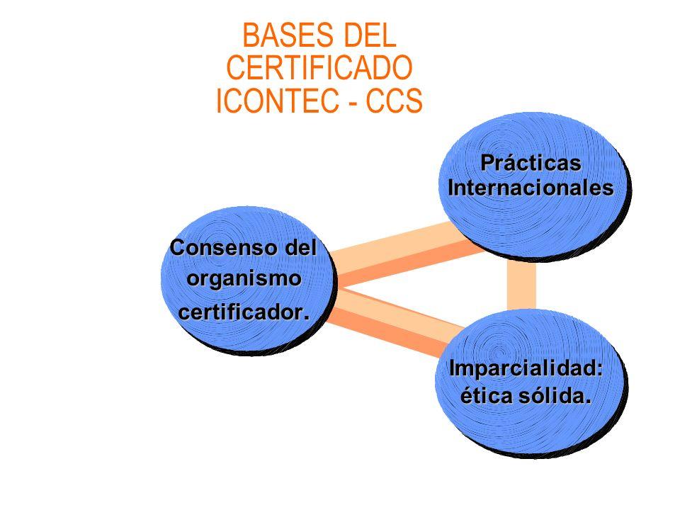 BASES DEL CERTIFICADO ICONTEC - CCS Consenso del organismo certificador. Prácticas Internacionales Imparcialidad: ética sólida.
