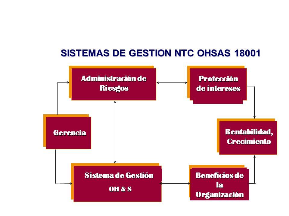 Sistema de Gestión OH & S Administración de Riesgos Protección de intereses Rentabilidad, Crecimiento Beneficios de la Organización Gerencia SISTEMAS