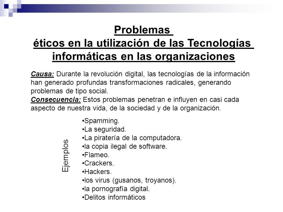 Problemas éticos en la utilización de las Tecnologías informáticas en las organizaciones Causa: Durante la revolución digital, las tecnologías de la i