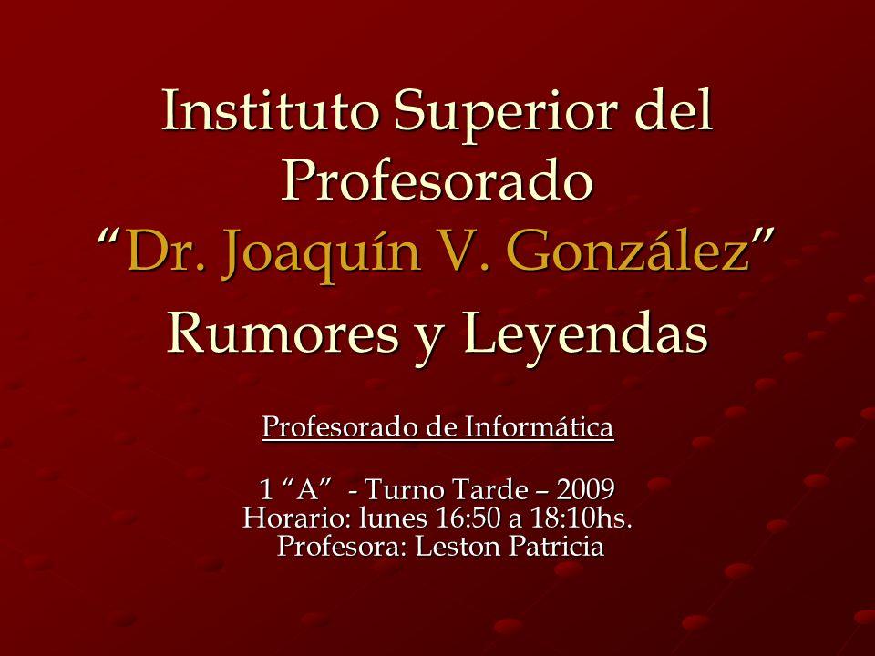 Instituto Superior del ProfesoradoDr.Joaquín V.
