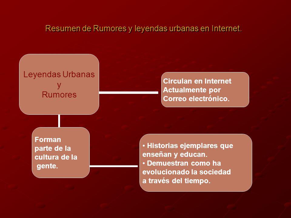 Leyendas Urbanas y Rumores Forman parte de la cultura de la gente.