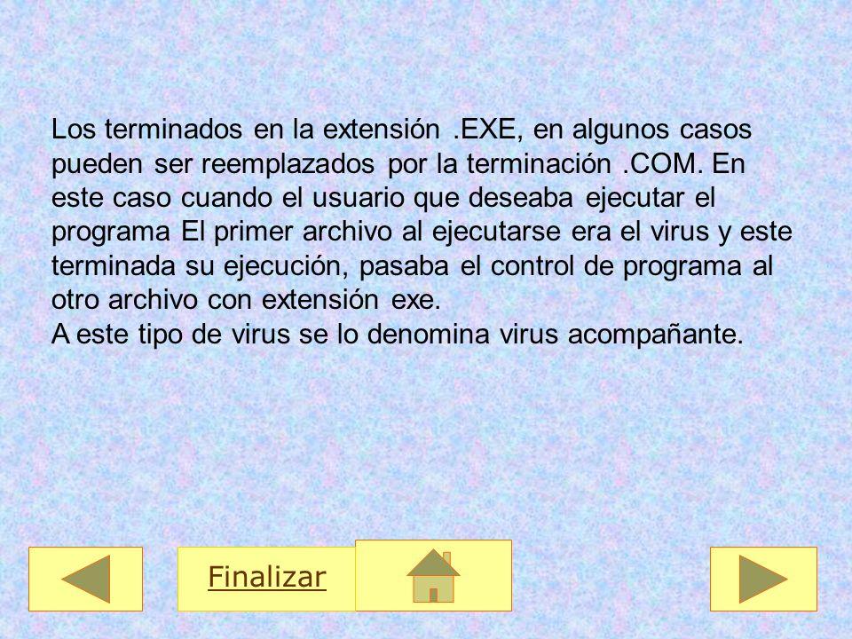 Los terminados en la extensión.EXE, en algunos casos pueden ser reemplazados por la terminación.COM. En este caso cuando el usuario que deseaba ejecut