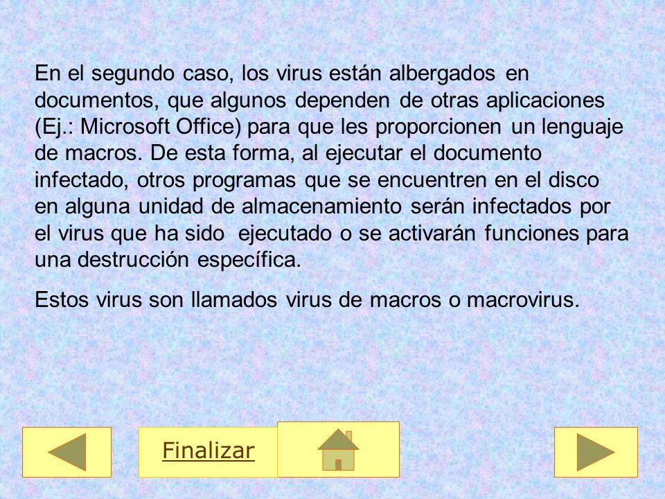 En el segundo caso, los virus están albergados en documentos, que algunos dependen de otras aplicaciones (Ej.: Microsoft Office) para que les proporci