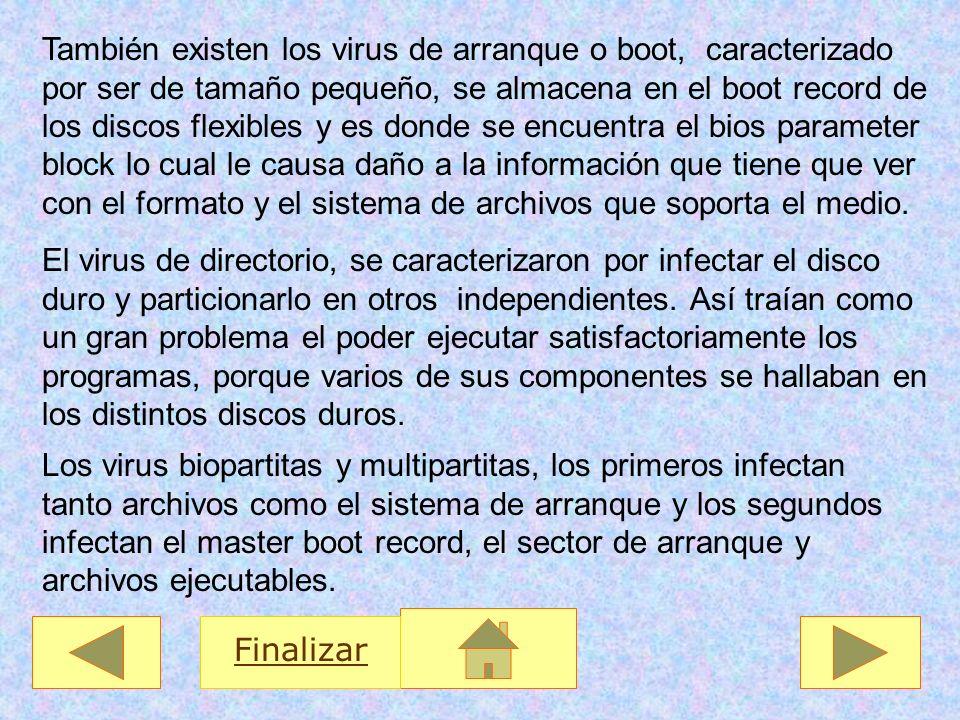 También existen los virus de arranque o boot, caracterizado por ser de tamaño pequeño, se almacena en el boot record de los discos flexibles y es dond