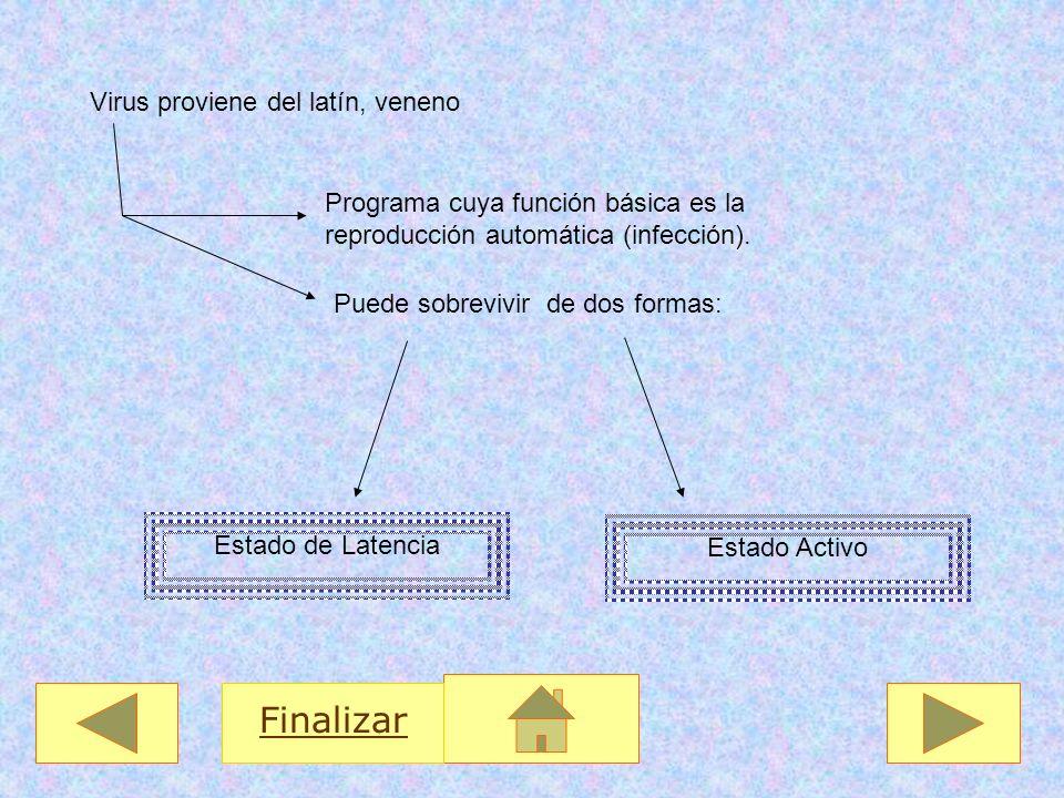 Virus proviene del latín, veneno Programa cuya función básica es la reproducción automática (infección). Puede sobrevivir de dos formas: Estado de Lat