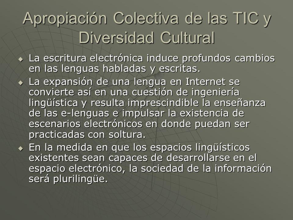Apropiación Colectiva de las TIC y Diversidad Cultural La escritura electrónica induce profundos cambios en las lenguas habladas y escritas. La escrit