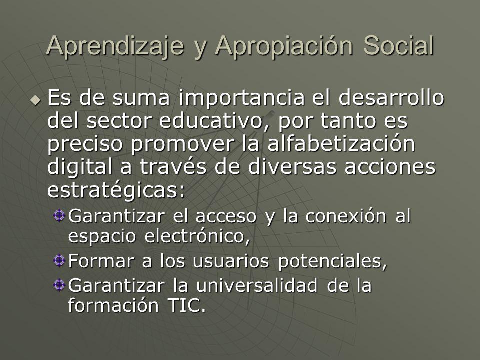 Aprendizaje y Apropiación Social Es de suma importancia el desarrollo del sector educativo, por tanto es preciso promover la alfabetización digital a