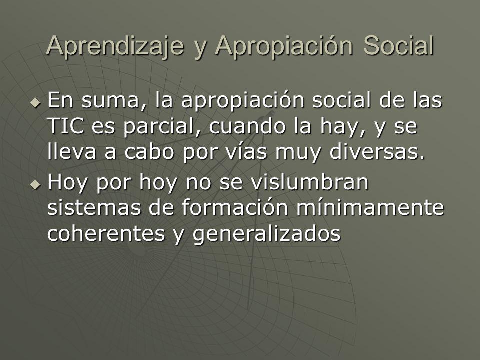 En suma, la apropiación social de las TIC es parcial, cuando la hay, y se lleva a cabo por vías muy diversas. En suma, la apropiación social de las TI