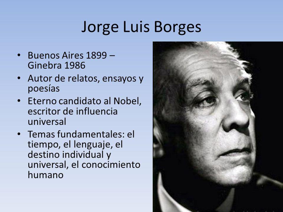 Jorge Luis Borges Buenos Aires 1899 – Ginebra 1986 Autor de relatos, ensayos y poesías Eterno candidato al Nobel, escritor de influencia universal Tem
