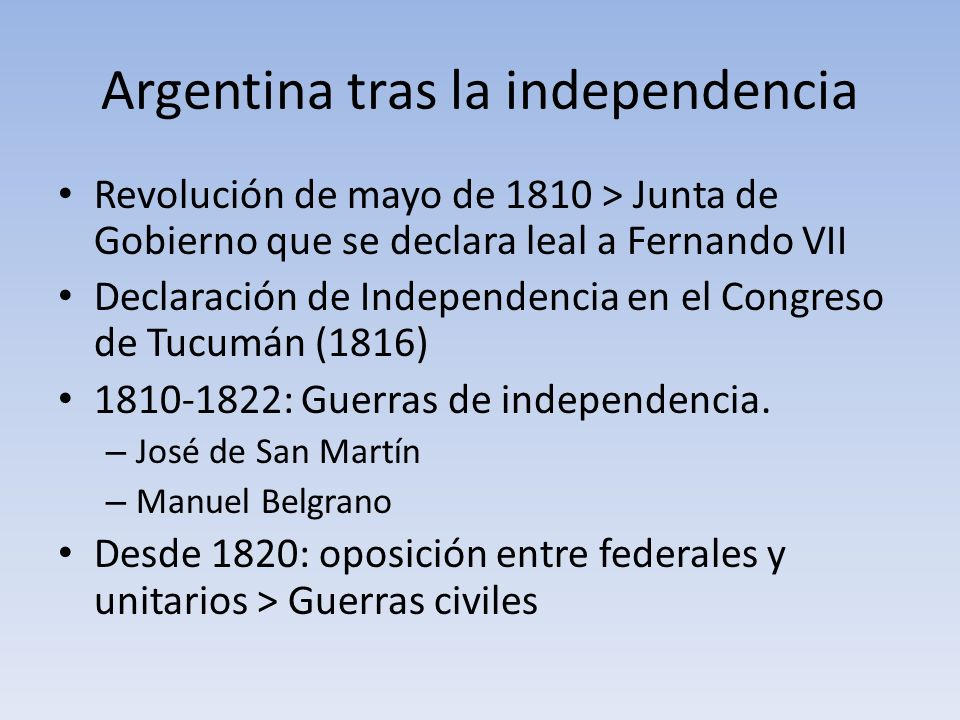 Argentina tras la independencia Revolución de mayo de 1810 > Junta de Gobierno que se declara leal a Fernando VII Declaración de Independencia en el C