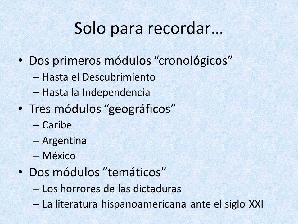 Solo para recordar… Dos primeros módulos cronológicos – Hasta el Descubrimiento – Hasta la Independencia Tres módulos geográficos – Caribe – Argentina